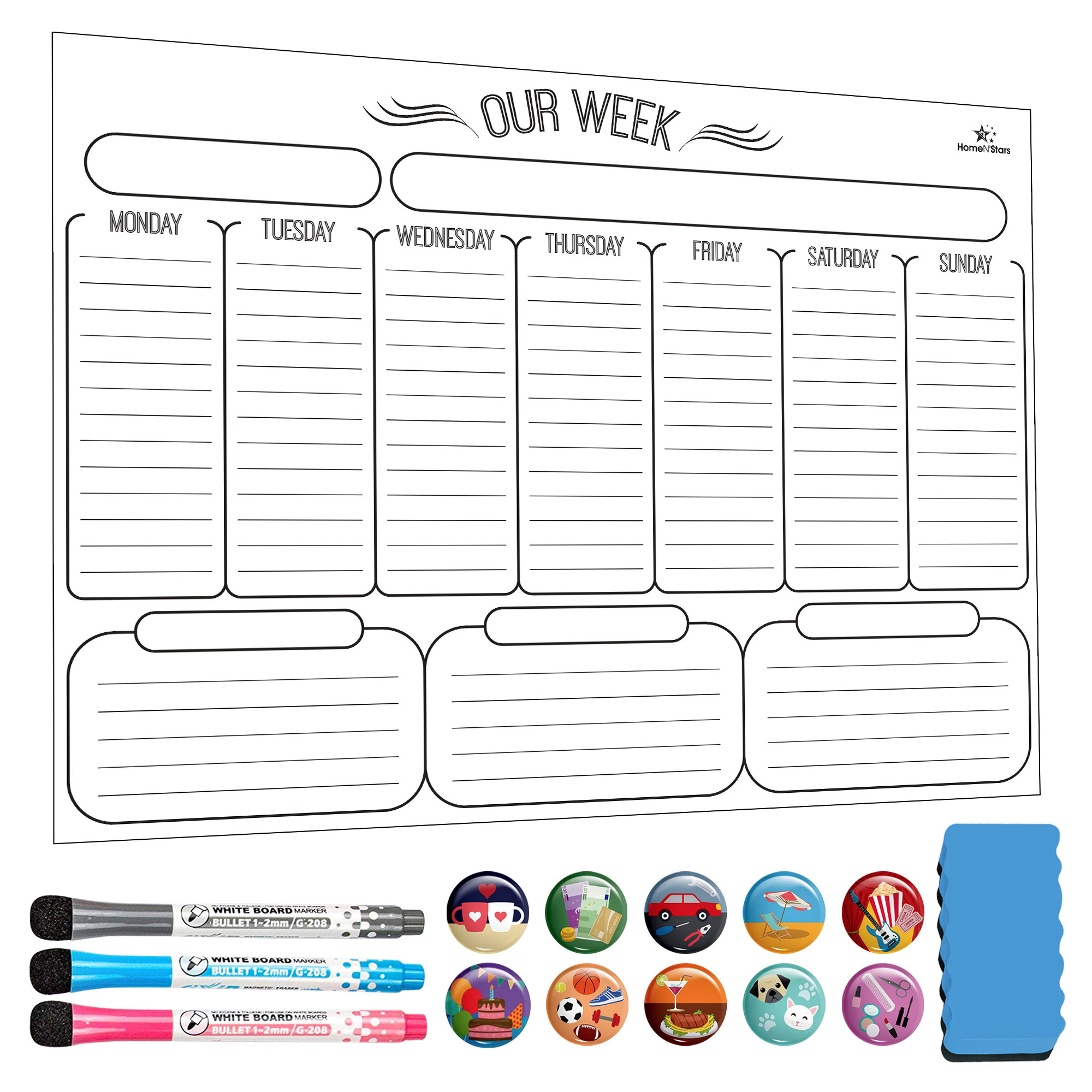Weekly Dry Erase Board Weekly calendar magnetic for refrigerator